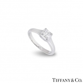 Tiffany & Co. Platinum Diamond Lucida Ring 0.93ct E/VVS2